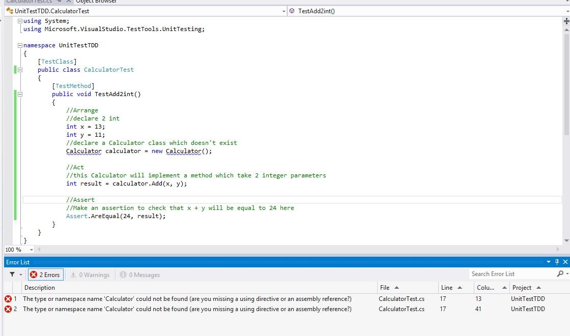 TDD – Test Design Driven on visual studio 2013 | Microsoft